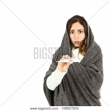 Flu Woman Anxious About Her Fever