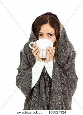 Sick Woman Drinking Something Warm