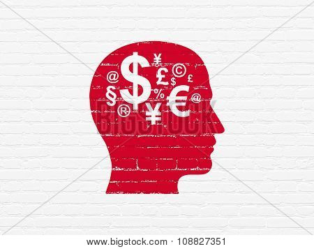 Finance concept: Head With Finance Symbol on wall background