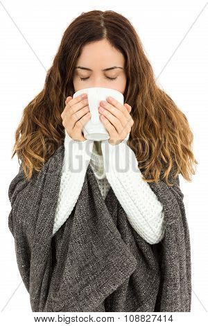 Flu Woman Drinking A Cup Of Tea