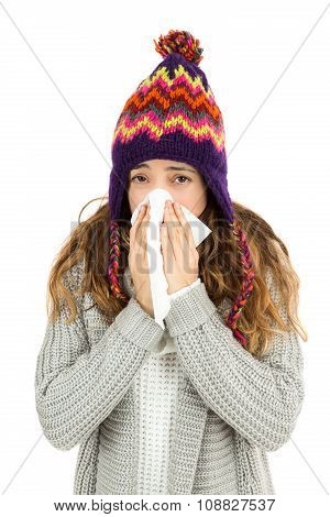 Flu Woman Sneezing