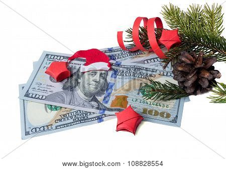 Bank Note With Santa Claus And Spruce Isolated On White