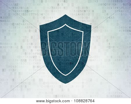Privacy concept: Shield on Digital Paper background