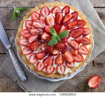 Tart With Cream And Fresh Strawberries