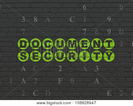 Protection concept: Document Security on wall background