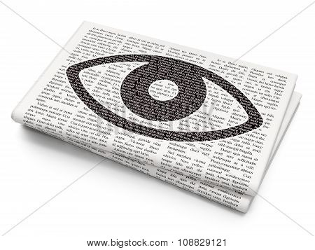 Security concept: Eye on Newspaper background