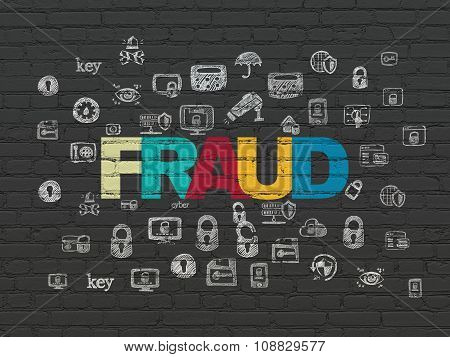 Privacy concept: Fraud on wall background