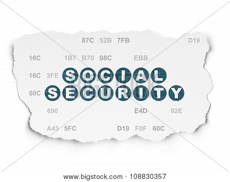 Security concept: Social Security on Torn Paper background