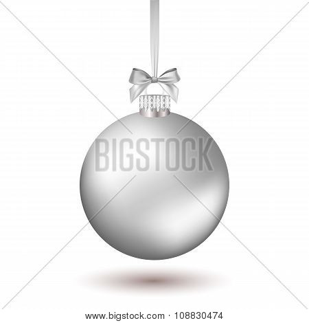 Christmas ball with ribbon.