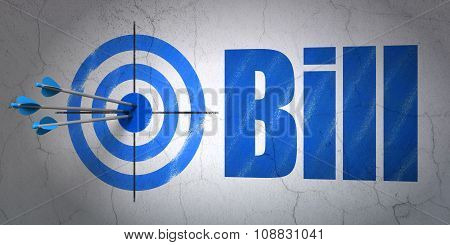Money concept: target and Bill on wall background