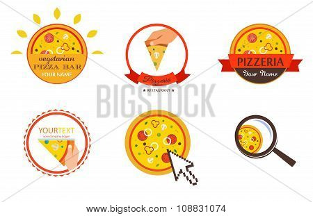 Pizzeria Restaurant Shop Design Element  for Logotype, Label, Badge, T-shirts and other design. Pizz