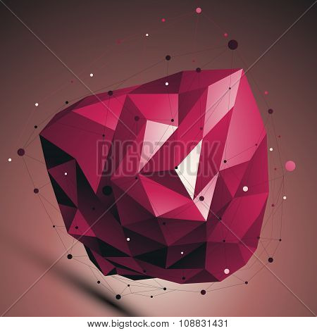 Ruby Vector Digital 3D Abstraction, Lattice Geometric Polygonal Template, Red Perspective Wireframe