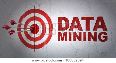 Information concept: target and Data Mining on wall background