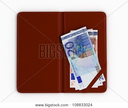Check Folder With Euro On The White Background