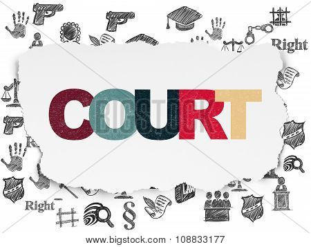 Law concept: Court on Torn Paper background