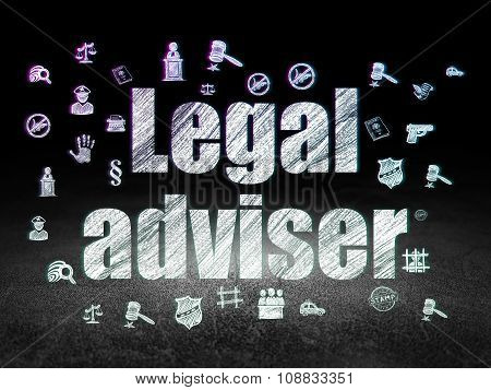 Law concept: Legal Adviser in grunge dark room
