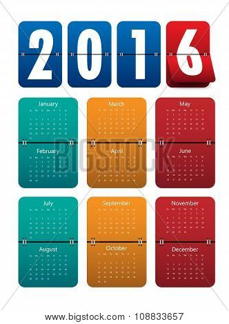 2016 Mechanical Timetable Calendar Template .vector