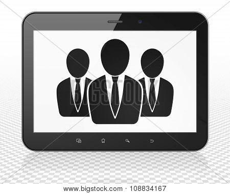 Law concept: Tablet Pc Computer with Business People on display