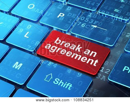 Law concept: Break An Agreement on computer keyboard background