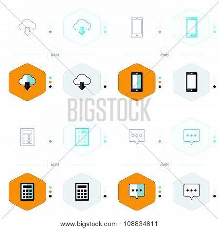 Cloud, Smartphone, Calculator, Speech Icons