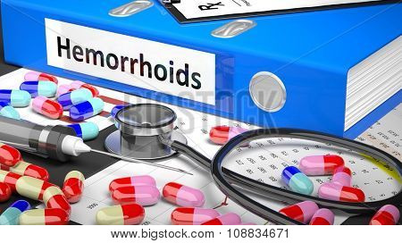 Illustration of doctor's desktop with different pills, capsules, statoscope, syringe, blue folder with label 'Hemorrhoids'