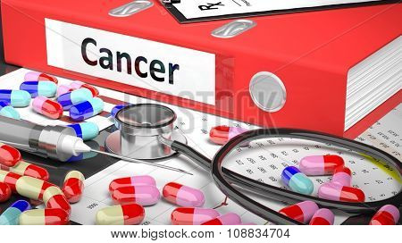 Illustration of doctor's desktop with different pills, capsules, statoscope, syringe, red folder with label 'Cancer'