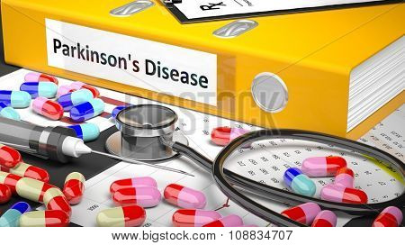 Illustration of doctor's desktop with different pills, capsules, statoscope, syringe, blue folder with label 'Parkinson's Disease'