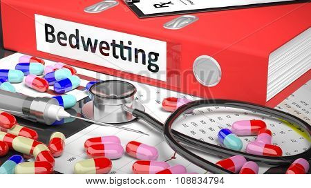 Illustration of doctor's desktop with different pills, capsules, statoscope, syringe, red folder with label 'Bedwetting'