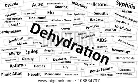 A disease called Dehydration written in bold type. Black and white words
