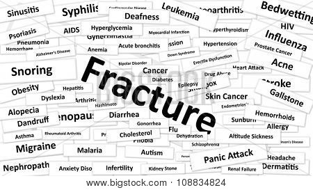 A disease called Fracture written in bold type. Black and white words