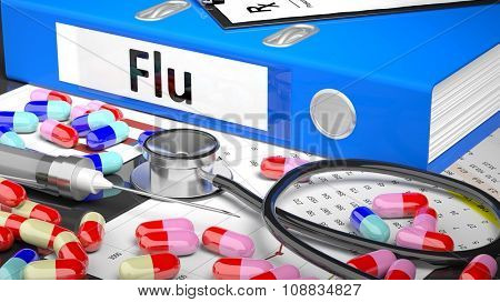 Illustration of doctor's desktop with different pills, capsules, statoscope, syringe, blue folder with label 'Flu'