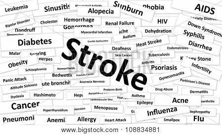 A disease called Stroke written in bold type. Black and white words