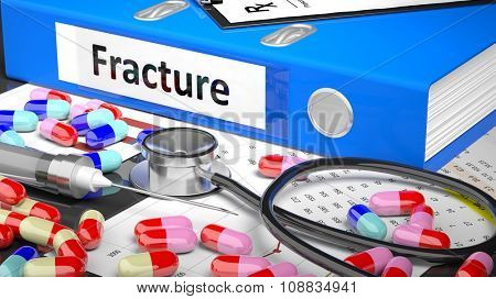 Illustration of doctor's desktop with different pills, capsules, statoscope, syringe, blue folder with label 'Fracture'