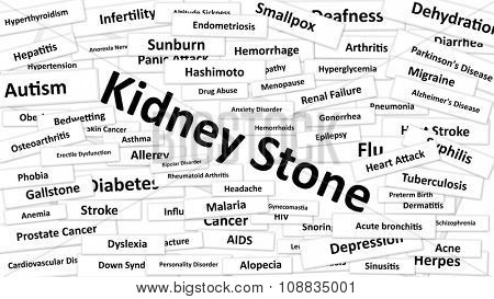 A disease called Kidney Stone written in bold type. Black and white words