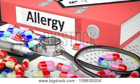 Illustration of doctor's desktop with different pills, capsules, statoscope, syringe, pale red folder with label 'Allergy'