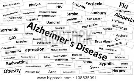 A disease called Alzheimer's Disease written in bold type. Black and white words
