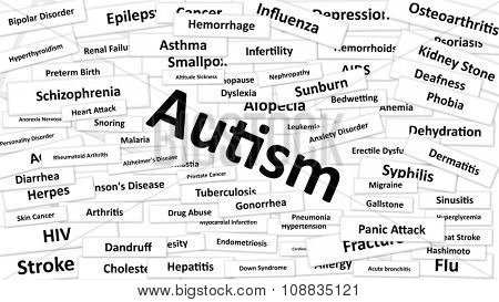 A disease called Autism written in bold type. Black and white words
