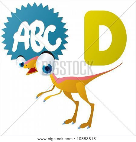 vector funny animals alphabet collection: D is for cute comic Dinosaur