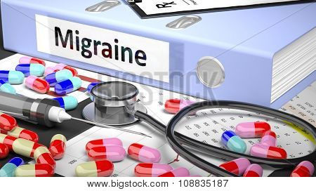 Illustration of doctor's desktop with different pills, capsules, statoscope, syringe, light blue folder with label 'Migraine'
