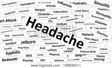 A disease called Headache written in bold type. Black and white words