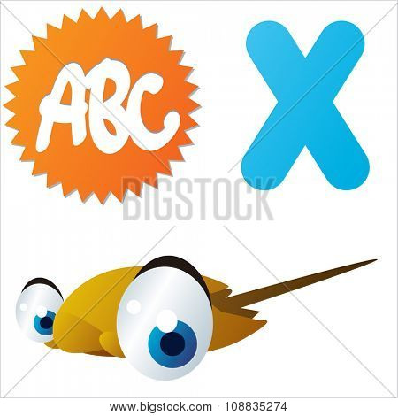 vector funny animals alphabet collection: X is for cute comic Xiphosura