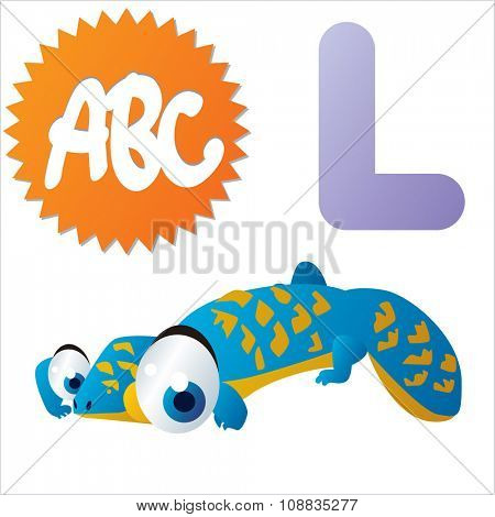 vector funny animals alphabet collection: L is for cute comic Lizard