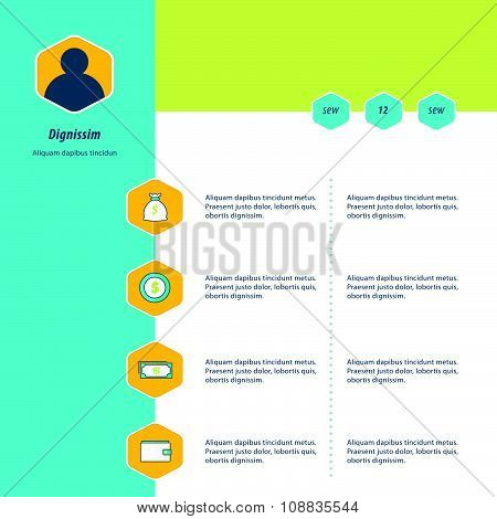Infographic Design Bule, Yellow And Green Color