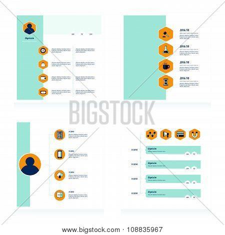 Set Of Timeline Vectors Design   Bule, Yellow Color Style