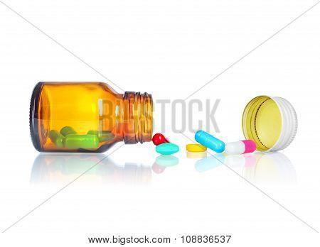 Pill Bottlepills Spilling Out Of Pill Bottle