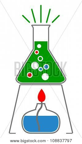 Chemistry laboratory glass with blue liquid on lab burner, icon, vector eps10