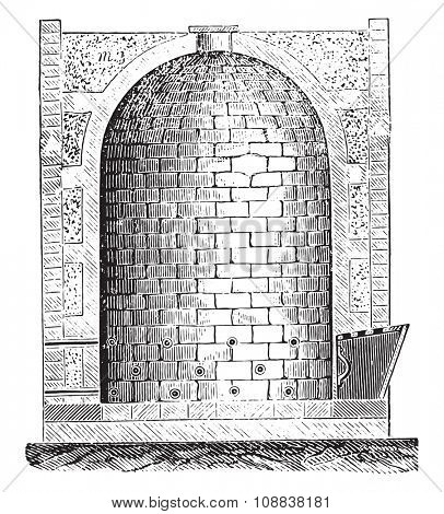 Furnace Oberndorf, vintage engraved illustration. Industrial encyclopedia E.-O. Lami - 1875.