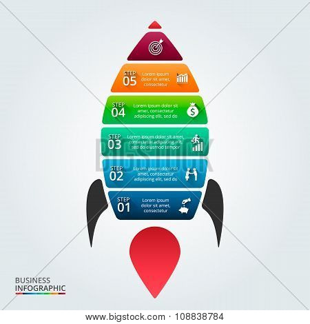Vector illustration of infographic with rocket.