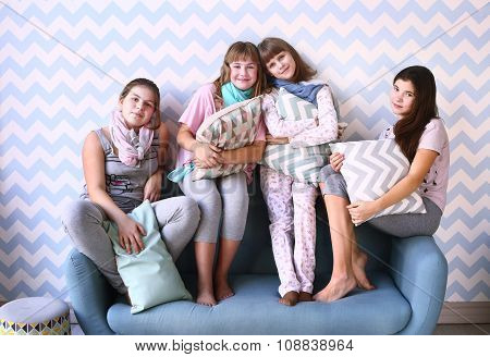 Four Girls On Pajama Party With Pillows