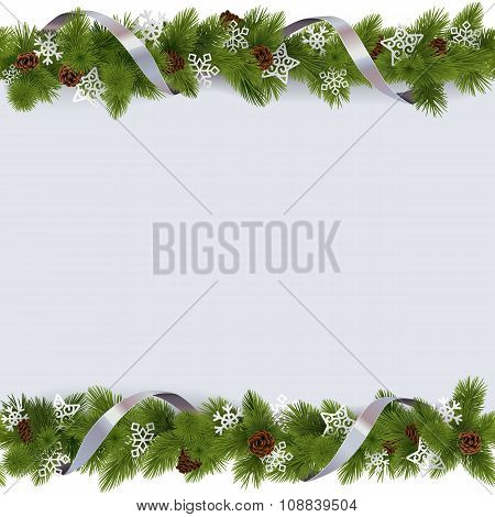 Vector Christmas Border With Snowflakes